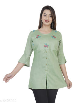 Women's Printed Olive Rayon Top
