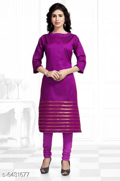 Women Soft Silk A-line Stripe Kurti