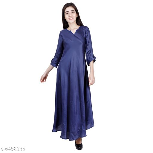 Women's Solid Satin Long Anarkali Kurti