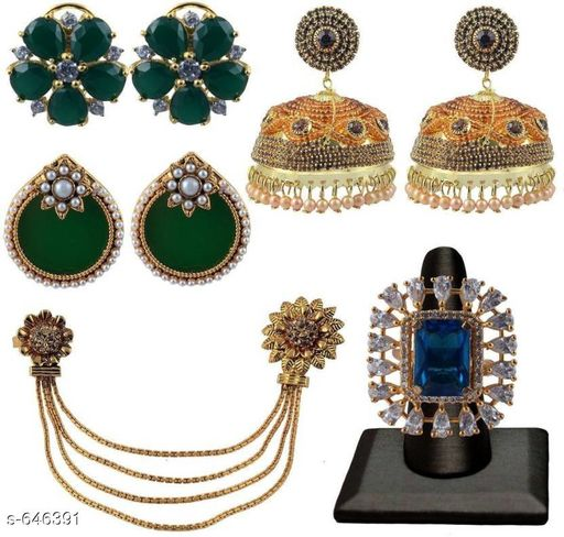 Jewellery Set Stylish Beaded Jewellery Sets Combo  *Material* Alloy  *Size* Free Size  *Description* It Has 3 Pair Of Earring, 1 Pieces Of Finger Ring, 1 Piece Of Kamar Band  *Work * Stone Work  *Sizes Available* Free Size *    Catalog Name: Exquisite Charming Beaded Jewellery Sets Vol 1 CatalogID_72896 C77-SC1093 Code: 8921-646391-