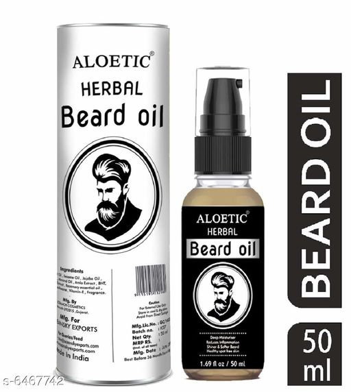 Men's Grooming  Personal Care & Grooming  *Product Name* Aloetic Herbal beard growth oil and moisturizer, 50 ml  *Brand Name* Aloetic  *Product Type * Beard Oil  *Capacity* 50 ml  *Multipack* 1  *Sizes Available* Free Size *    Catalog Name: Personal Care & Grooming CatalogID_1029373 C51-SC1662 Code: 202-6467742-
