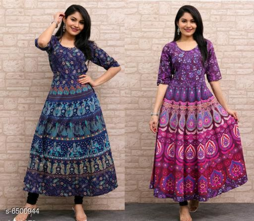 Women's Printed Purple Cotton Dress