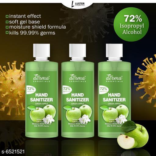 True Derma Essentials Flavoured Sanitizer (Green Apple) Pack of 3 - 580ML