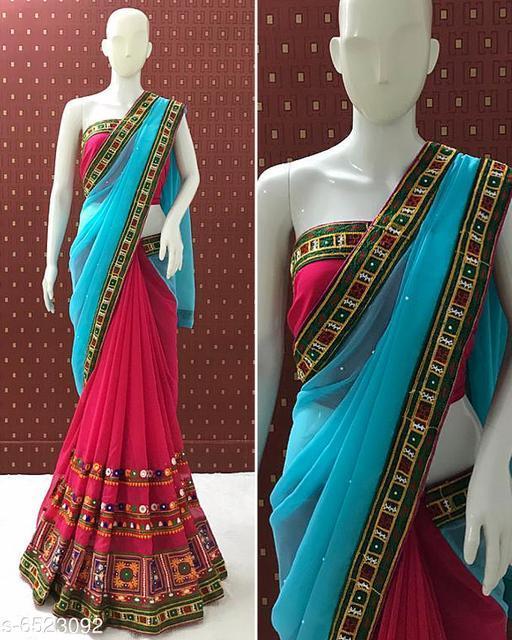 SERONA FABRICS Border  embroidery designer kutchi work bridal wear saree