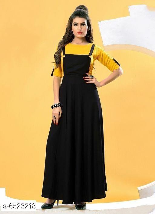 Women's Solid Pinafore Rayon Dress