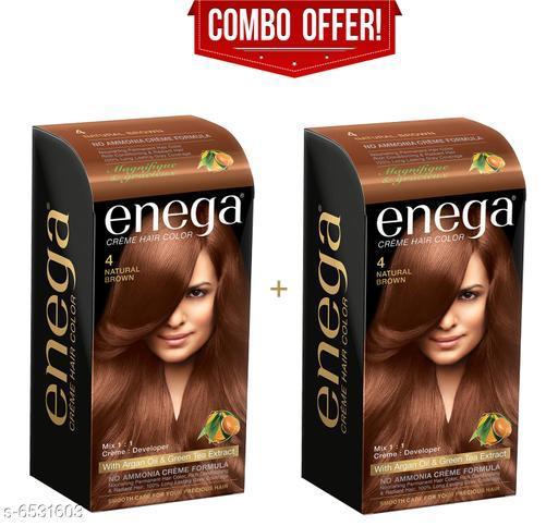 Enega Cream Hair Color  with Argan Oil & Green Tea Extract No Ammonia Cream Formula Smooth Care For Your Precious Hair! Natural Brown(Pack Of 2,40ML+40ML)