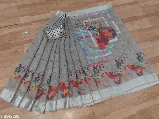 New Fancy Cotton Butterfly Print Saree With Unstiched Blouse Piece