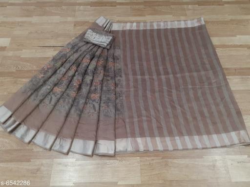 New Fancy Cotton Floral Print Saree With Unstiched Blouse Piece