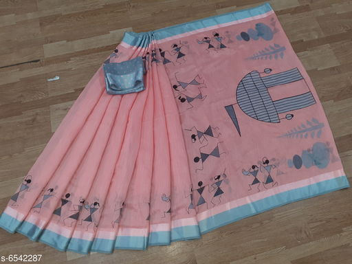 New Fancy Cotton Tribal Print Saree With Unstiched Blouse Piece
