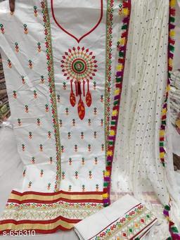 Designer Cotton Embroidered Suit