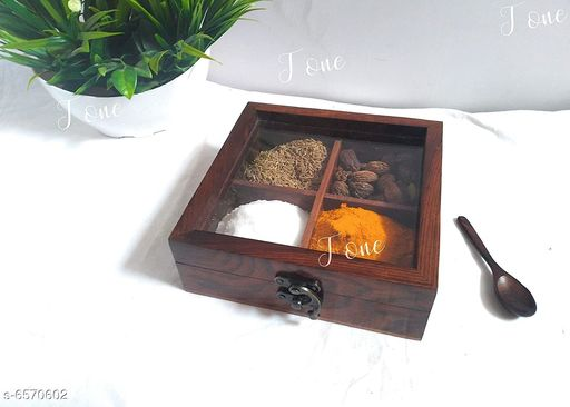 Wooden Spice Box for Kitchen with 4 compartments with Free Spoon