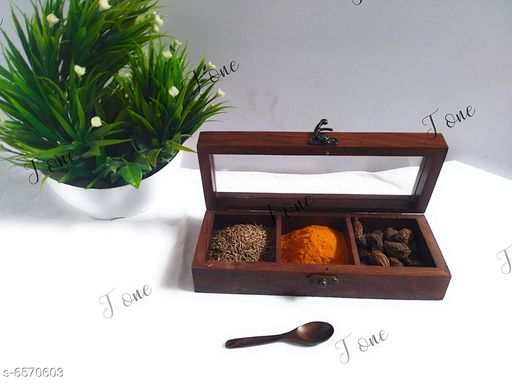 Wooden Spice Box for Kitchen with 3 compartments with Free Spoon
