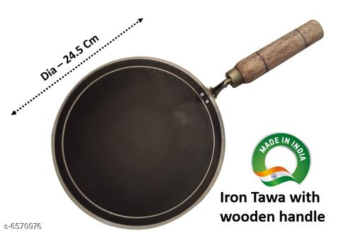 INDIAN Iron Tawa with wooden handle