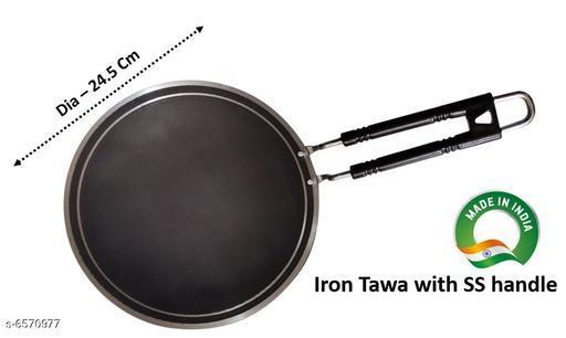 INDIAN Iron Tawa with SS handle