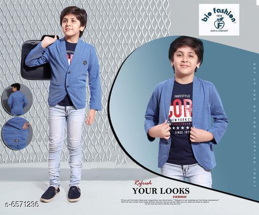 Clothing Sets Tinkle Stylish Kids Boys Tshirt With Blazer   *Top Fabric* 100% Cotton  *Blazer Fabric* 100% Cotton  *Sleeve Length* Tshirt  *Top Pattern* Printed  *Blazer * Solid  *Multipack* Single  *Add-Ons* Blazer  *Sizes*   *5-6 Years (Top Chest Size* 13 in, Top Length Size  *3-4 Years (Top Chest Size* 12 in, Top Length Size  *7-8 Years (Top Chest Size* 14.5 in, Top Length Size  *2-3 Years (Top Chest Size* 11 in, Top Length Size  *Sizes Available* 2-3 Years, 3-4 Years, 5-6 Years, 7-8 Years, 8-9 Years, 9-10 Years, 10-11 Years, 11-12 Years, 12-13 Years, 13-14 Years, 14-15 Years, 15-16 Years *    Catalog Name: Tinkle Stylish Kids Boys Tshirt With Blazer CatalogID_1046988 C59-SC1182 Code: 275-6571236-