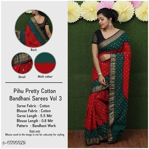 Pretty Cotton Bandhani Saree