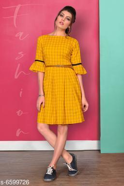 Women's Printed Yellow Cotton Dress