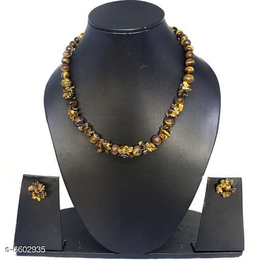 Jewellery Set Attractive Gemstone Necklace   *Base Metal* Gemstone  *Stone Type* Artificial Stones  *Sizing* Adjustable  *Type* Necklace and Earrings  *Multipack* 1  *Sizes Available* Free Size *    Catalog Name: Elite Beautiful Jewellery Sets CatalogID_1052094 C77-SC1093 Code: 045-6602935-