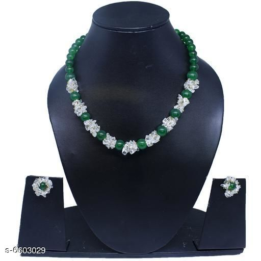 Jewellery Set Attractive Gemstone Necklace   *Base Metal* Gemstone  *Stone Type* Artificial Stones  *Sizing* Adjustable  *Type* Necklace and Earrings  *Multipack* 1  *Sizes Available* Free Size *    Catalog Name: Twinkling Beautiful Jewellery Sets CatalogID_1052110 C77-SC1093 Code: 045-6603029-