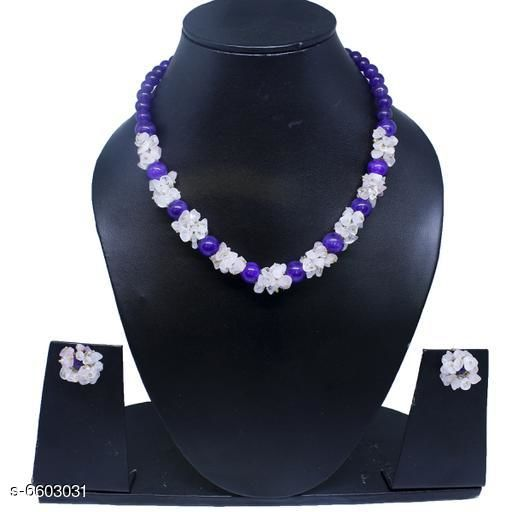 Jewellery Set Attractive Gemstone Necklace   *Base Metal* Gemstone  *Stone Type* Artificial Stones  *Sizing* Adjustable  *Type* Necklace and Earrings  *Multipack* 1  *Sizes Available* Free Size *    Catalog Name: Twinkling Beautiful Jewellery Sets CatalogID_1052110 C77-SC1093 Code: 045-6603031-