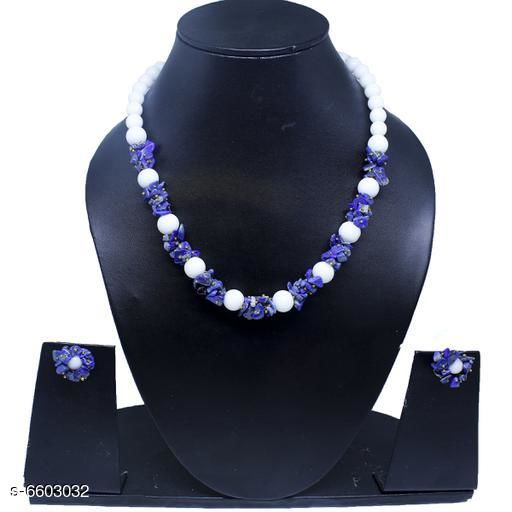 Jewellery Set Attractive Gemstone Necklace   *Base Metal* Gemstone  *Stone Type* Artificial Stones  *Sizing* Adjustable  *Type* Necklace and Earrings  *Multipack* 1  *Sizes Available* Free Size *    Catalog Name: Twinkling Beautiful Jewellery Sets CatalogID_1052110 C77-SC1093 Code: 045-6603032-