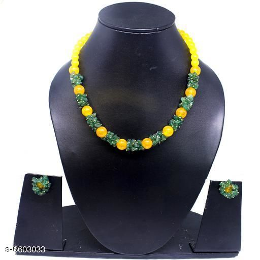 Jewellery Set Attractive Gemstone Necklace   *Base Metal* Gemstone  *Stone Type* Artificial Stones  *Sizing* Adjustable  *Type* Necklace and Earrings  *Multipack* 1  *Sizes Available* Free Size *    Catalog Name: Twinkling Beautiful Jewellery Sets CatalogID_1052110 C77-SC1093 Code: 045-6603033-