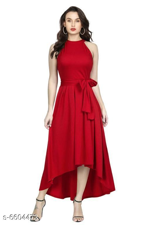 Women's Solid High-Low Rayon Dress