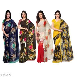Anand Sarees Floral Print Daily Wear Georgette Saree (Pack of 4, Multicolor)