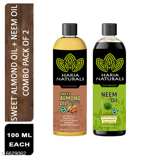 Herbal Products Haria Naturals 100% Cold Pressed Sweet Almond Oil & Neem Oil 100 ml Hair Oil (Combo Pack of 2 Bottles) 200 ml   *Product Name* Haria Naturals 100% Cold Pressed Sweet Almond Oil & Neem Oil 100 ml Hair Oil (Combo Pack of 2 Bottles) 200 ml  *Brand Name* Haria Natural  *Product Type* Sweet Almond Oil & Neem Oil  *Capacity* 100 ml Each  *Multipack* 2  *Sizes Available* Free Size *    Catalog Name: Haria Naturals Cold Pressed Sweet Almond Oil & Hair Oil   CatalogID_1056331 C50-SC1297 Code: 682-6629062-