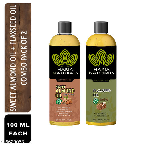 Herbal Products Haria Naturals 100% Cold Pressed Sweet Almond Oil & FlaxSeed Oil 100 ml Hair Oil (Combo Pack of 2 Bottles) 200 ml   *Product Name* Haria Naturals 100% Cold Pressed Sweet Almond Oil & FlaxSeed Oil 100 ml Hair Oil (Combo Pack of 2 Bottles) 200 ml  *Brand Name* Haria Natural  *Product Type* Sweet Almond Oil & FlaxSeed Oil  *Capacity* 100 ml Each  *Multipack* 2  *Sizes Available* Free Size *    Catalog Name: Haria Naturals Cold Pressed Sweet Almond Oil & Hair Oil   CatalogID_1056331 C50-SC1297 Code: 692-6629063-