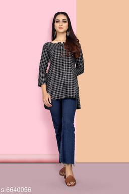 Women's Printed Black Cotton Blend Top