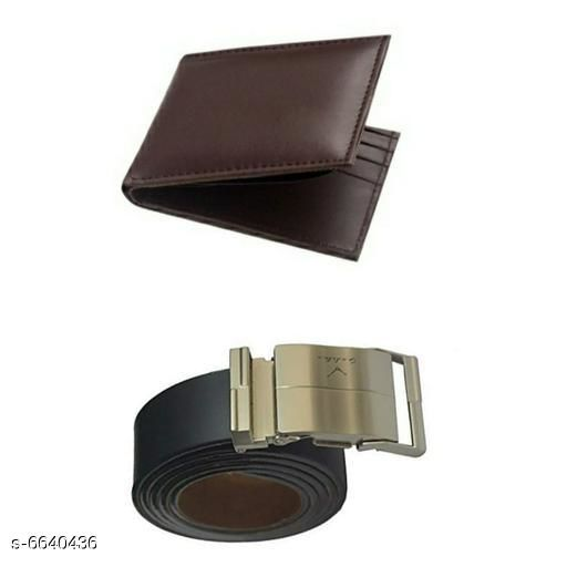 Attractive Leatherette Men's Belth Woth Combo Of Wallet