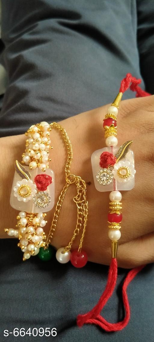 Elegant Metal Thread Work Rakhi Rakhi For Bhaiya and bhabhi