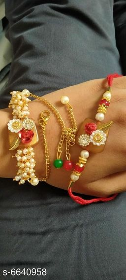 Elegant Metal Thread Work Rakhi