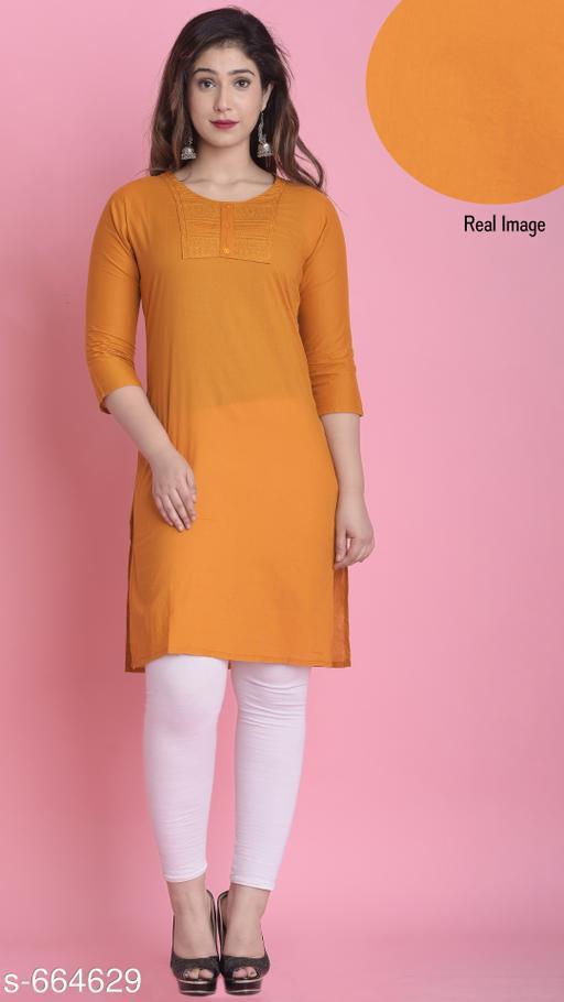 Women Cotton A-line Solid Orange Kurti
