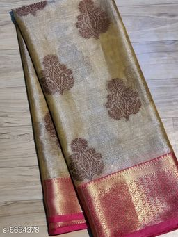 Trendy's Banarasi Tissue Kora Muslin Silk Sarees