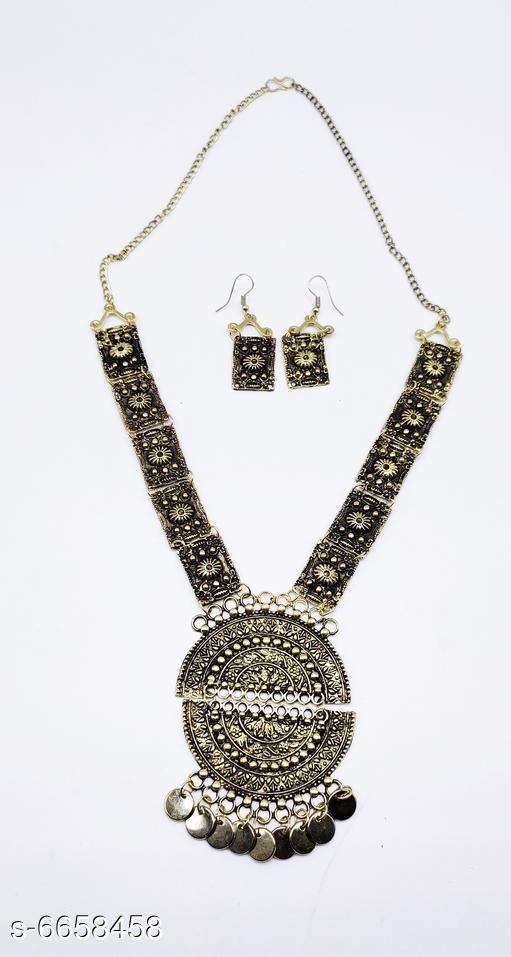 Jewellery Set Attractive Oxidised  Women's Jewellery Set   *Base Metal* Oxidised  *Plating* Oxidised  *Sizing* Adjustable  *Type* Necklace and Earrings  *Multipack* 1  *Sizes Available* Free Size *    Catalog Name: Elite Beautiful Jewellery Sets CatalogID_1061257 C77-SC1093 Code: 982-6658458-