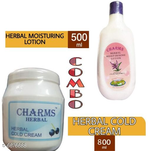 Face Charms Herbal Moisturising Cream & lotion  *Product Name* Charms Herbal Moisturising Cream & lotion  *Type* Cream  *Capacity* 800 ml (Cream) + 500 ml (Lotion)  *Multipack* 2  *Sizes Available* Free Size *   Catalog Rating: ★3.4 (5)  Catalog Name: Free Gift Wrapped Ã' Charms Herbal Moisturising Lotion CatalogID_1064412 C51-SC1241 Code: 904-6676688-