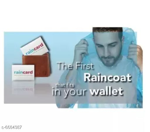 Raincoat Disposable Pocket Rain Card (Rain Coat)  *Material* Plastic  *Type* Stitched  *Sleeves* Three-Quarter Sleeves  *Pattern* Solid  *Age* All Ages  *Multi Pack* Pack of 5  *Size* Free Size  *Sizes Available* Free Size *   Catalog Rating: ★3 (5)  Catalog Name: Disposable Pocket Rain Card (Rain Coat) CatalogID_1065617 C70-SC1468 Code: 032-6684387-