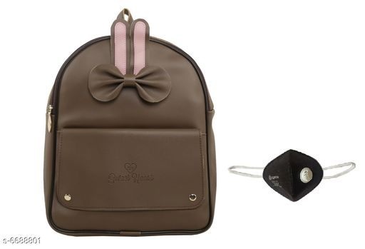 Backpacks Classic Fashionable Women Backpack  *Material* Backpack - PU Leather, Mask - Non Woven  *No. of Compartments* 2  *No Of Pocket* 2  *Pattern* Solid  *Multipack* 1  *Sizes*   *Backpack - Free Size (Length Size* 14 in, Width Size Mask - Free Size  *Sizes Available* Free Size *    Catalog Name: Classic Fashionable Women Backpacks CatalogID_1066400 Code: 094-6688801-