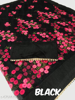 Trendy Net Embroidered Lace Work Saree