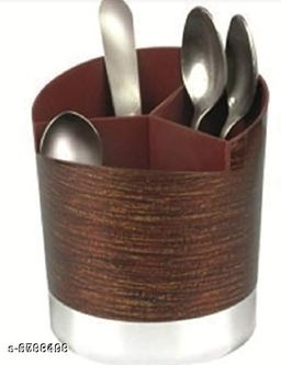 Multi Functional Self Draining Organizer Wood Finish - Spoons, Knife & Kitchen Cutlery Storage Holder Stand