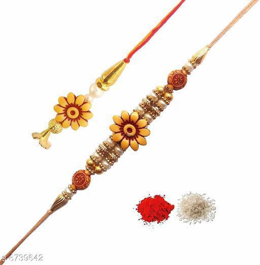 Rakhi AR Eyewar Traditional Ethnic Designer Rakhi With Chuda Rakhi for Bhaiya and Bhabhi(EFS20245)  *Material* wood  *Type* Rakhi  *Multipack* 3  *Sizes* Free Size  *Description* It Has Ethnic Designer Rakhi With Chuda Rakhi for Bhaiya and Bhabhi  *Sizes Available* Free Size *   Catalog Rating: ★3.8 (16)  Catalog Name: Twinkling Fusion Rakhi CatalogID_1074607 C77-SC1266 Code: 682-6739642-