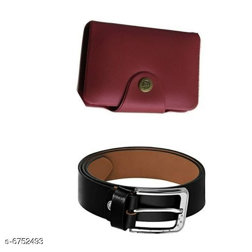 Wallets Stylish Men's Wallet & Belt  *Wallet Material* Leatherette  *Belt Material* Leatherette  *No. of Slots* 15  *Pattern* Solid  *Sizes* Free Size (Wallet Length Size  *Description* It Has 1 Wallet & 1 Belt  *Sizes Available* Free Size *    Catalog Name: Stylish Men'S Wallet & Belt CatalogID_1076833 C65-SC1221 Code: 503-6752493-