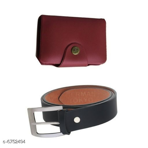 Wallets Stylish Men's Wallet & Belt  *Wallet Material* Leatherette  *Belt Material* Leatherette  *No. of Slots* 15  *Pattern* Solid  *Sizes* Free Size (Wallet Length Size  *Description* It Has 1 Wallet & 1 Belt  *Sizes Available* Free Size *    Catalog Name: Stylish Men'S Wallet & Belt CatalogID_1076833 C65-SC1221 Code: 503-6752494-