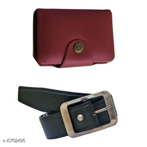 Wallets Stylish Men's Wallet & Belt  *Wallet Material* Leatherette  *Belt Material* Leatherette  *No. of Slots* 15  *Pattern* Solid  *Sizes* Free Size (Wallet Length Size  *Description* It Has 1 Wallet & 1 Belt  *Sizes Available* Free Size *    Catalog Name: Stylish Men'S Wallet & Belt CatalogID_1076833 C65-SC1221 Code: 503-6752495-