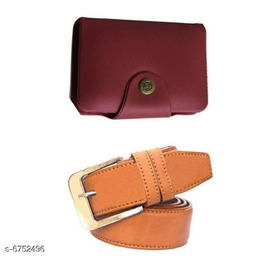 Wallets Stylish Men's Wallet & Belt  *Wallet Material* Leatherette  *Belt Material* Leatherette  *No. of Slots* 15  *Pattern* Solid  *Sizes* Free Size (Wallet Length Size  *Description* It Has 1 Wallet & 1 Belt  *Sizes Available* Free Size *    Catalog Name: Stylish Men'S Wallet & Belt CatalogID_1076833 C65-SC1221 Code: 503-6752496-