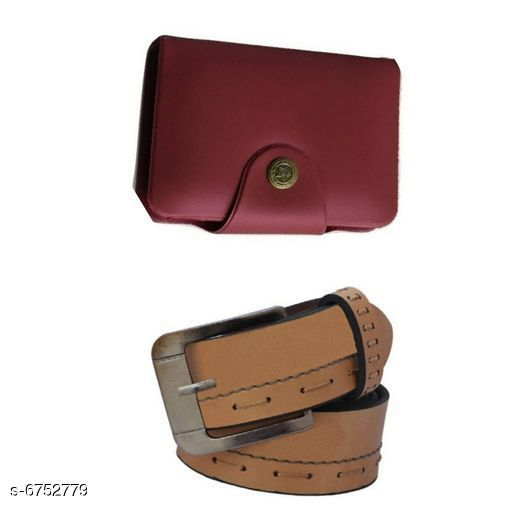 Wallets Stylish Men's Wallet & Belt  *Wallet Material* Leatherette  *Belt Material* Leatherette  *No. of Slots* 15  *Pattern* Solid  *Sizes* Free Size (Wallet Length Size  *Description* It Has 1 Wallet & 1 Belt  *Sizes Available* Free Size *    Catalog Name: Stylish Men'S Wallet & Belt CatalogID_1076869 C65-SC1221 Code: 503-6752779-