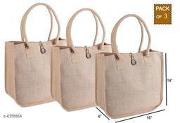 Attractive Women's Pack of 3 Brown Jute Jute Bags