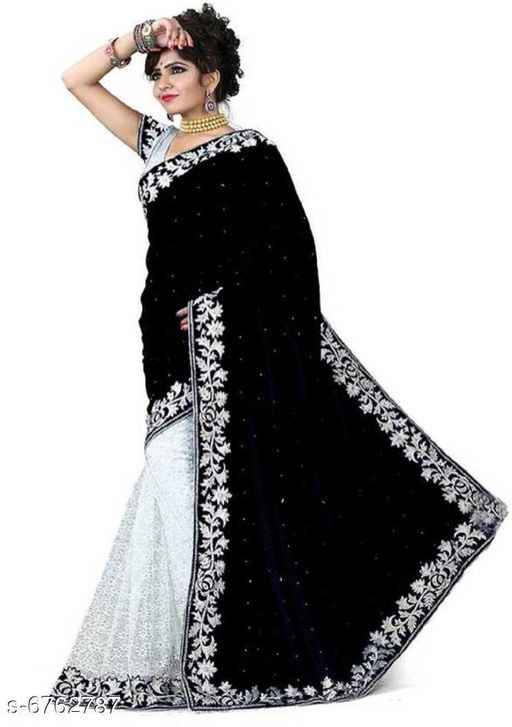 Embellished Pure Velvet Saree